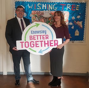 Council Leader, Councillor Andy Moorhead, with Jan Owens, Manager at Swanside Community Centre, where the homework and IT sessions will take place