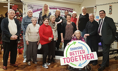 Council Leader, Councillor Andy Moorhead, with the Memory Lane group at the Arncliffe Centre in Halewood – one of the venues where Memory Lane will deliver Shared Experience courses