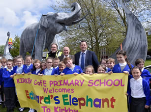 Edward's Elephant arrives in Kirkby